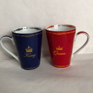 EUC King and Queen Mug Set Konitz  Red Blue Gold